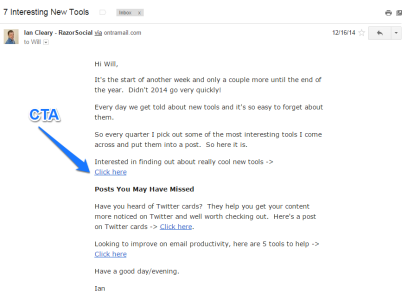 Ian Cleary Razor Social Email Blog Promotion Example