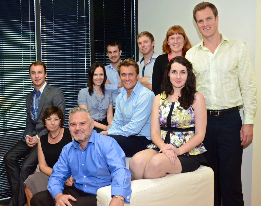 The 'Bluewire Family' in 2012 in their West End office