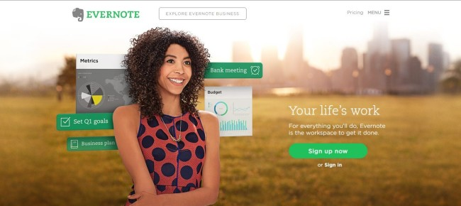 Evernote - example of online writing tool