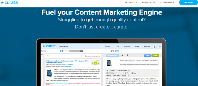 curata - example of a content marketing tool (2)