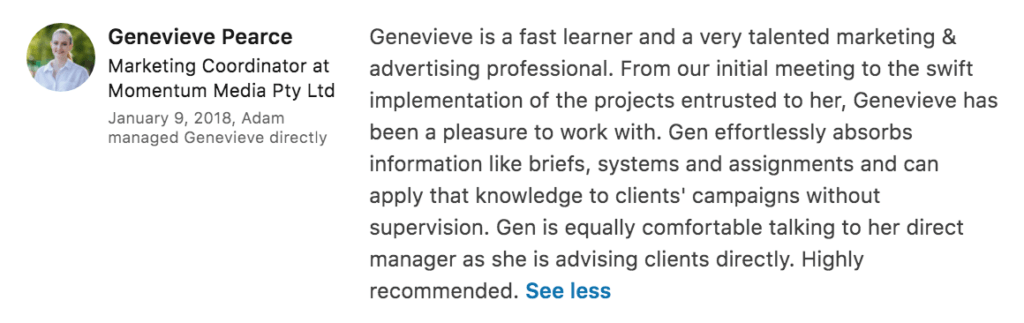 LinkedIn recommendation example GP
